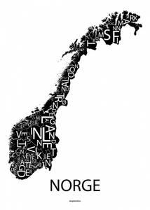 Bilde av Norge poster sort