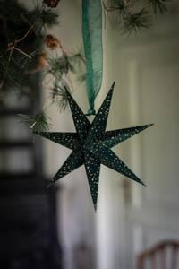 Bilde av Adventsstjerne mini velur grønn m.gullglitter